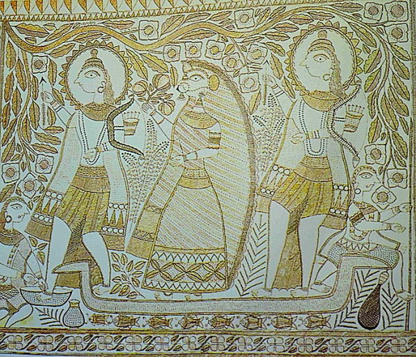 Ramayana Painting leaving for forest on a boat with Kevat, Ganga Devi's Madhubani Painting