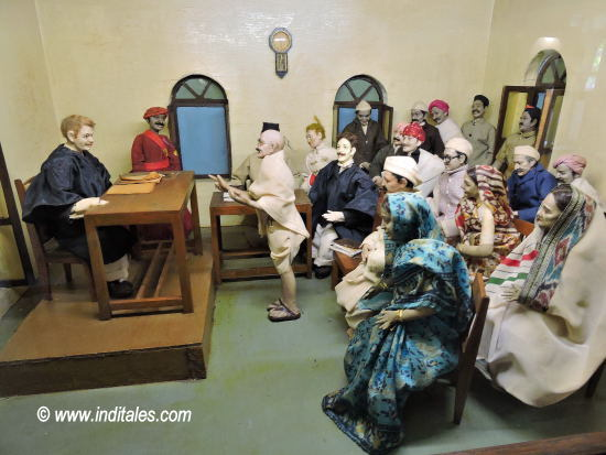 Diorama depicting Gandhi's life at Mani Bhavan, Mumbai