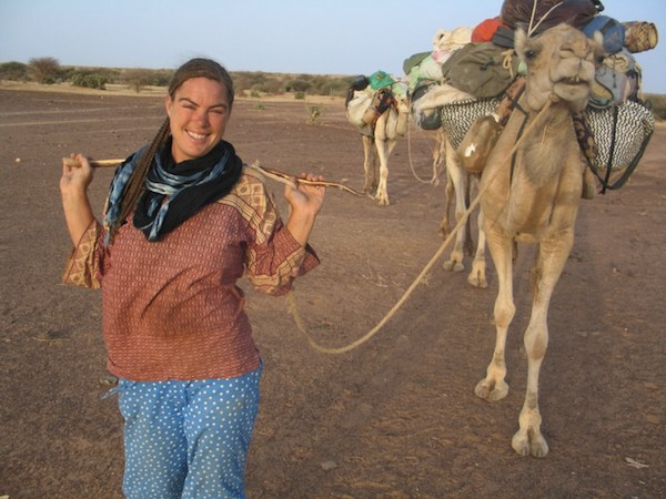 Author Traveler with her camels in Sahara Desert