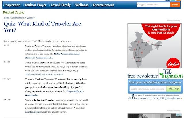 Beliefnet's Travel Quiz