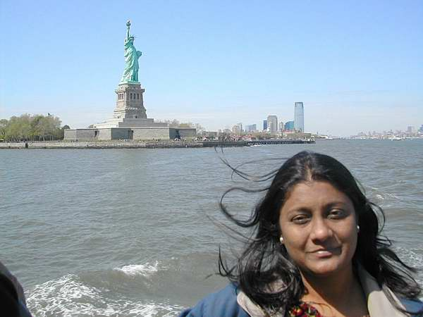 On Ferry to meet the Statue of Liberty - Visit to New York