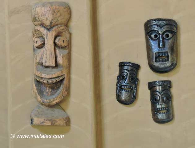 Interesting wooden masks on display