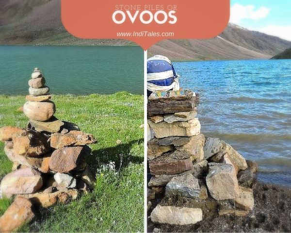 Piles of Stones or Ovoos near Chandratal Lake Lahual Spiti Himachal Pradesh