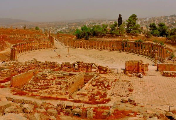 View of the old and new city of Jerash from Temple of Zeus