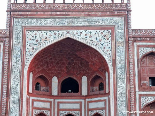 Detail of the red sandstone entrance gate of Taj Mahal
