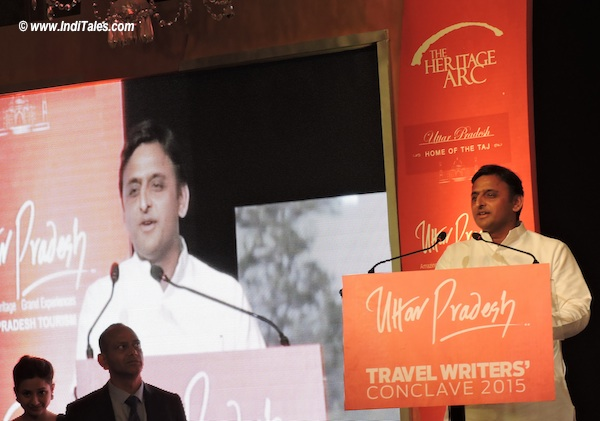 UP CM Akhilesh Yadav addressing the Travel Writers