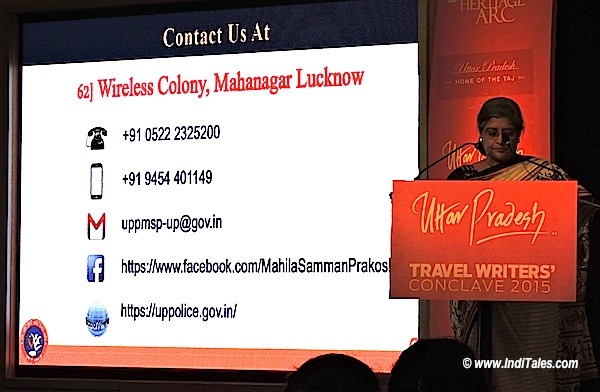 Sutapa Sanyal talking about women safety at UP Travel Writers Conclave 2015