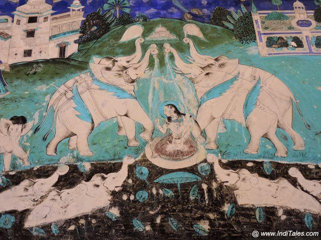 Miniature Paintings of Goddess Gaja Lakshmi