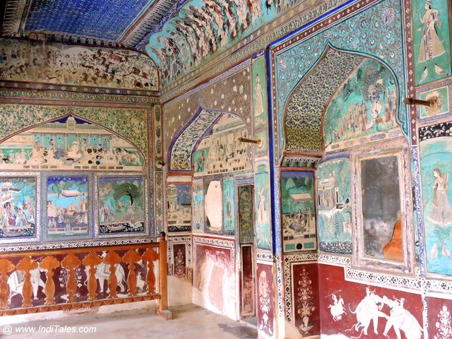 Chitrashala paintings all over the walls at Ummed Palace, Bundi