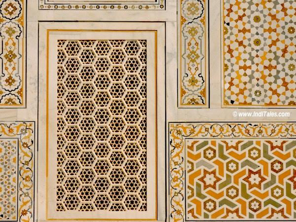 Jali work and Pietra Dura or Inlay work at Itmad-Ud-Daula tomb