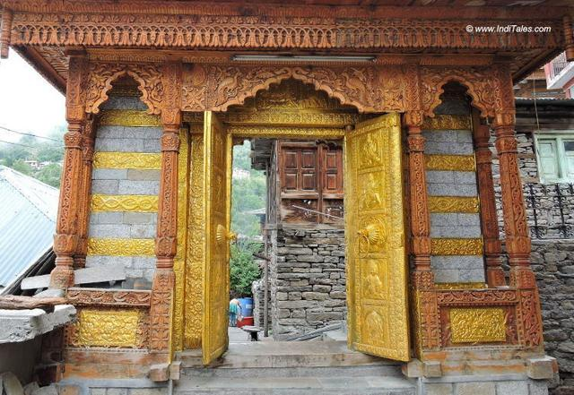 An ornate door of Nag Nagini temple at Kalpa
