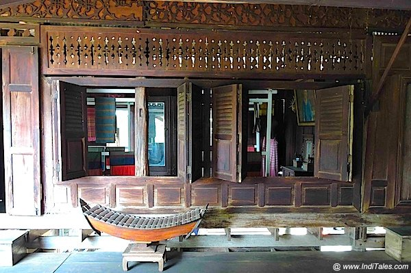 Old Wooden House with wood carvings at Tai Yuan Cultural centre, Saraburi, Thailand
