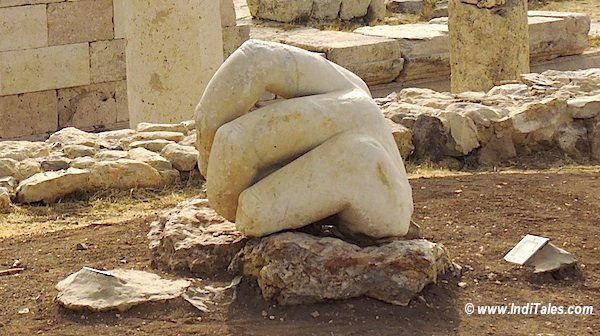 Hand of Hercules in stone at Amman Citadel Jordan