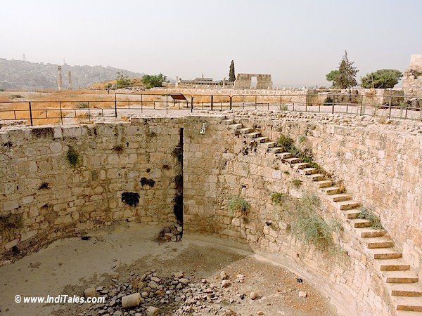 Large open cistern at Amman Citadel Jordan