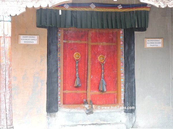 The door to Dalai Lama's room at Dhankar Monastery