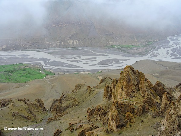 Landscape view from Dhankar Monastery Spiti Valley Himachal Pradesh