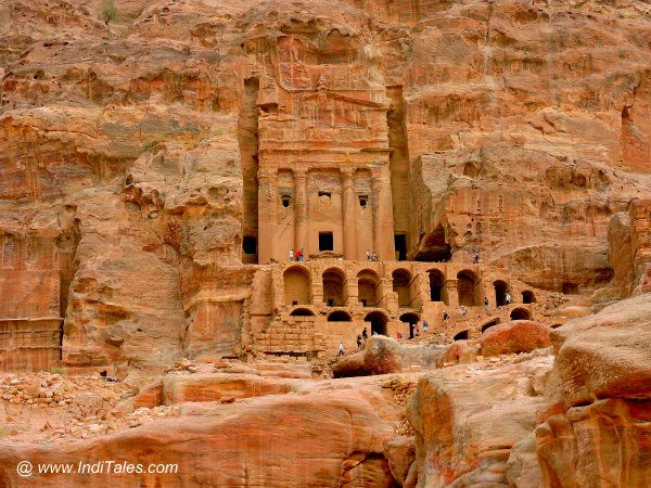 Royal tombs high up on the hill at Petra Jordan