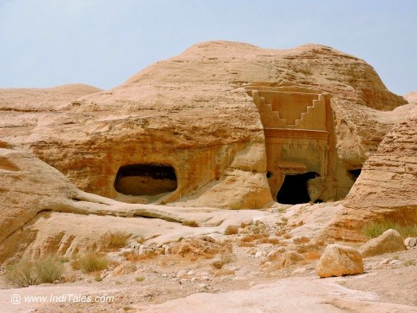 Tombs and caves carved out of the rocks outside the city of Petra Jordan
