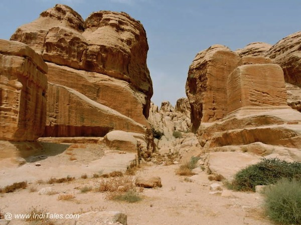 Walk through the rocks to reach Petra Jordan