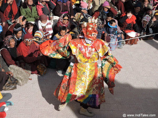 Red Masked Cham Dancer at Gustor festival, Ladakh