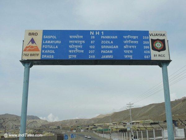 NH 1 Milestones in Ladakh