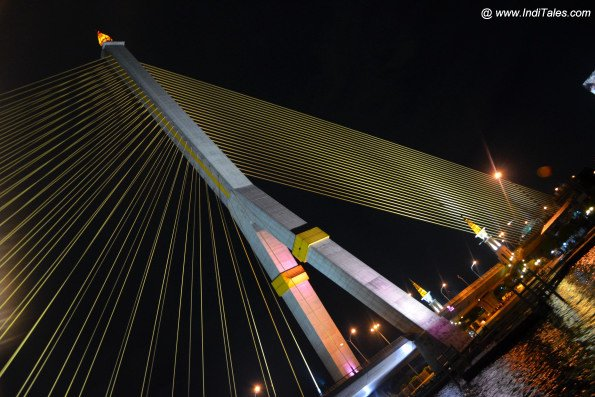 Passing under the bridge on River Cruise on Chao Phraya Bangkok Nightlife