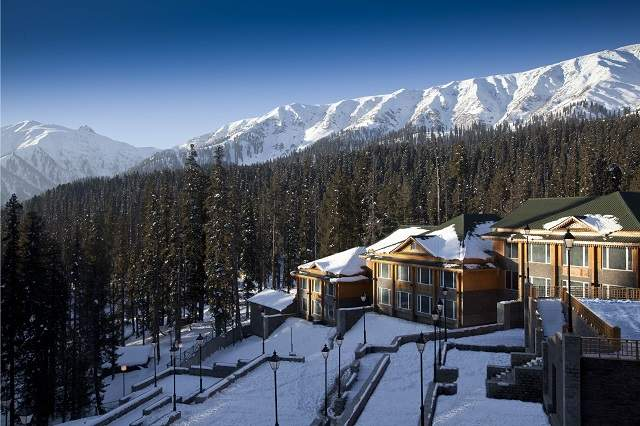 Landscape view of the Khyber Himalayan Resort & Spa, Gulmarg in winters