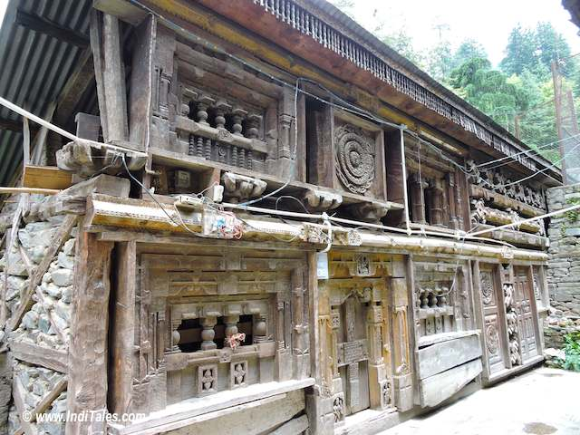 Wooden walls of Tripura Sundari Temple at Naggar