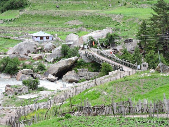 Top view of bridge from Rakcham village, Sangla Valley, Himachal