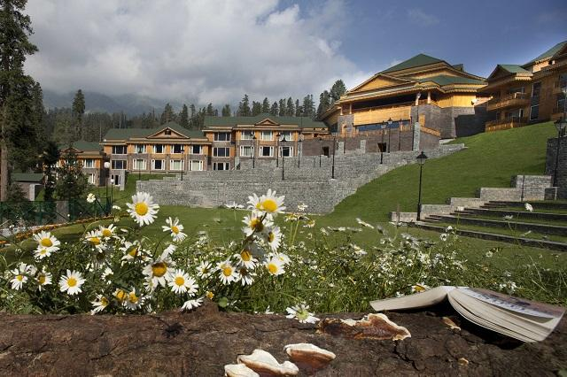 Landscape view of the Khyber Himalayan Resort and spa in the spring
