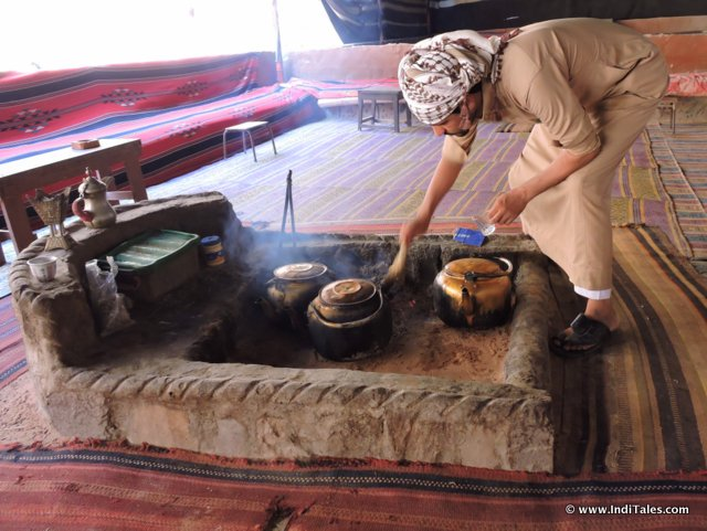 Tea making in a Bedouin camp