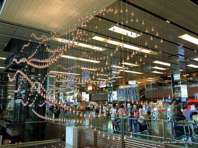 Kinetic Rain Sculpture at Terminal 1, Changi Airport, Art Trail at Changi