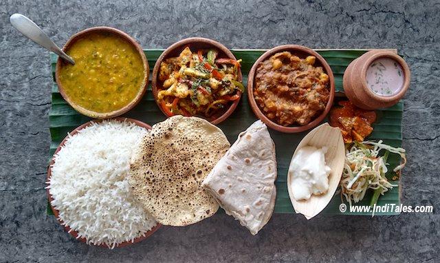 Goan Thali in an unusual shape at Nero Barcode Goa Restaurants