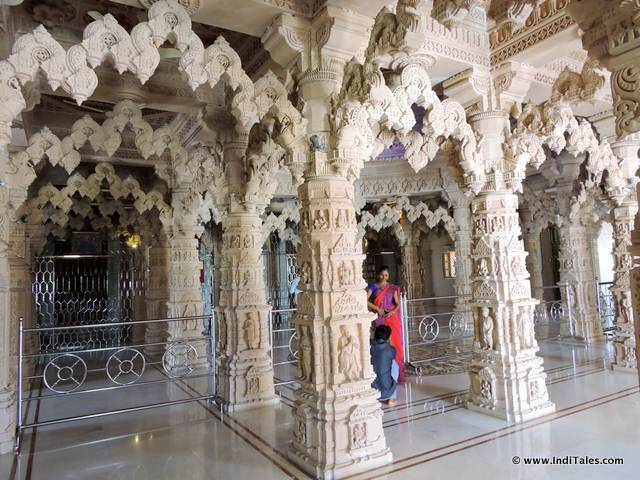 Carved interiors of Swaminarayan Temple , Silvassa