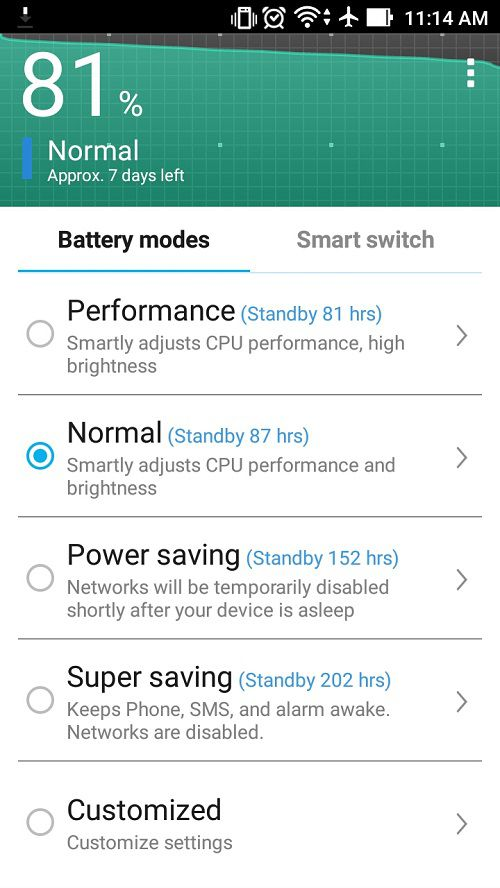 Asus Zenfone Max Battery Screen
