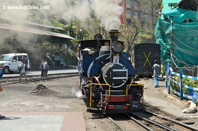Darjeeling Himalayan Railway engine strolls in the station