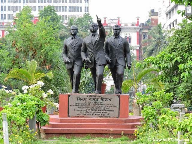 Statues of Benoy Basu, Badal Gupta & Dinesh Gupta opp Writers Building