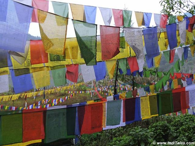 Prayer flags on way to Khecheolpalri lake Pelling