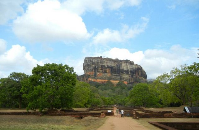 Sigiriya (Lion's Rock) surrounded by rock and water gardens