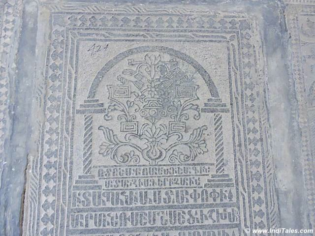 Carved grave stone with epitaphs written in Armenian , Armenian Church