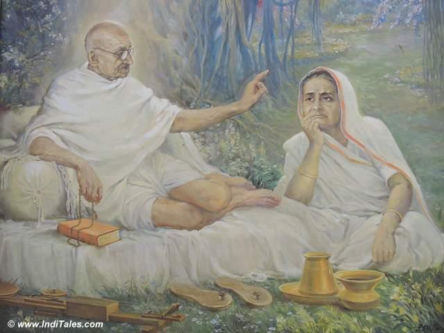 Portrait of Mahatma Gandhi & Kasturba