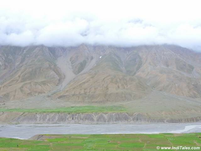 Snow capped mountains and Spiri River near Kaza, Spiti Valley, Himachal