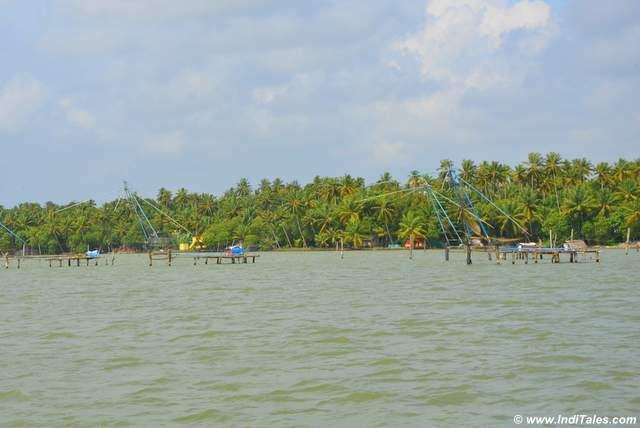 Ashtamudi Lake row of fishing nets