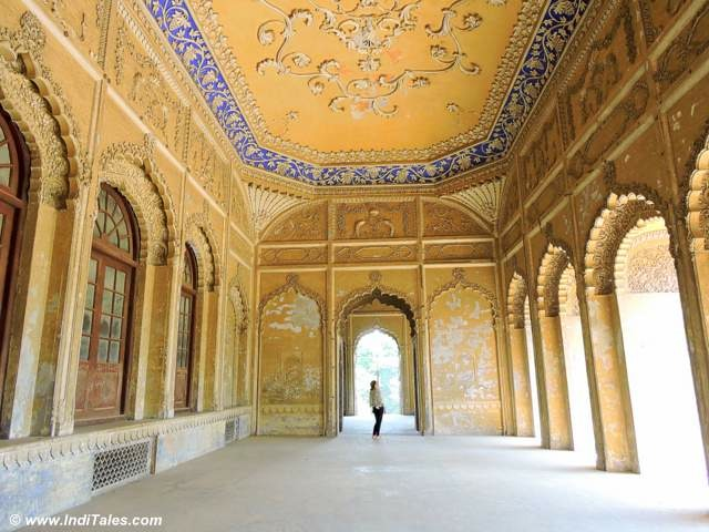 Yellow & Blue Stucco work at Bahu Begum Maqbara