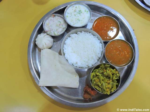 Konkan Thali with Rice Flour Roti and Sol Kadi