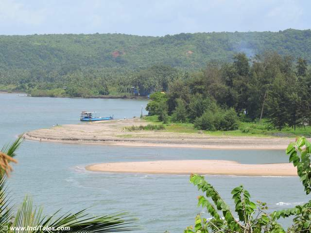 Tiracol River as it meets the Arabian Sea