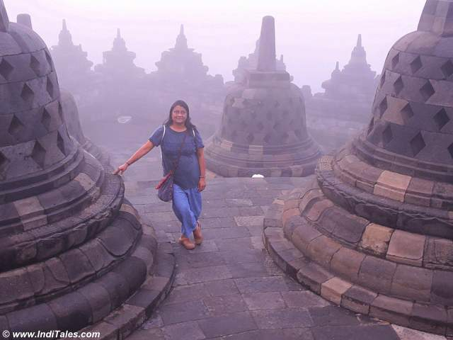 Anuradha Goyal at Borobudur Temple compounds - waiting for the sunrise