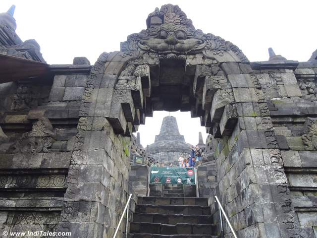 Kirti Mukh on Arches leading to upper levels, Borobudur, Java, Indonesia