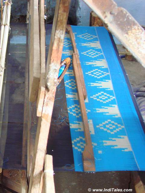 Ikkat pattern being woven at Pochampally