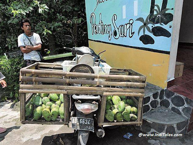 Mangoes bring sold on a bike cart